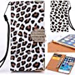 iPhone 7 Case Leopard, Miniko(TM) Fashion Leopard Leather Bling Glitter Sparkle Diamond Rhinestone Magenetic Flip Wallet Type with Credit Card Holder Case for iPhone 7 - White