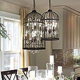 Amazon creative co op metal birdcage chandelier with crystals lovedima new 1418 dia retro rustic bird cage metal chandelier crystal 5 aloadofball Choice Image