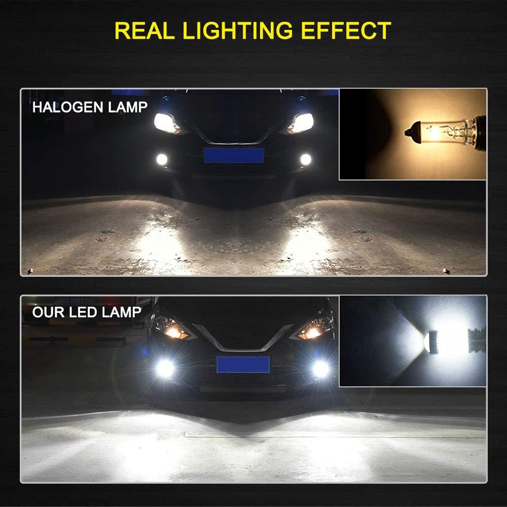 AUXITO H10 9140 9145 Fog Light Bulbs 1400Lumens Super Bright 4014 102-SMD  LED H10 Bulbs for DRL or Fog Lights 6000K Xenon White