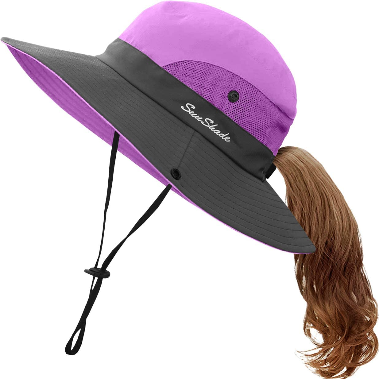 Kids UV Sun Hat with Ponytail Hole UPF 50 Bucket...