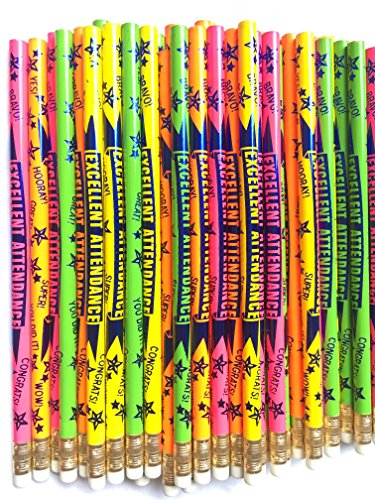 Excellent Attendance- 6 Motivational Reward Pencils D2554 (Attendance Pencils)