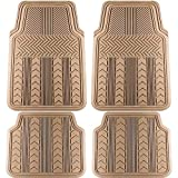 #6: Motorup America Auto Floor Mats (4-Piece Set) All Season Rubber - Fits Select Vehicles Car Truck Van SUV, Arrow Beige Tan Brown