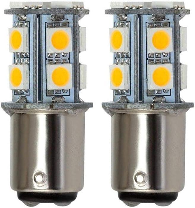 GRV Ba15d 1076 1142 High Bright Car LED Bulb 13-5050SMD DC 12V Warm White Pack of 2