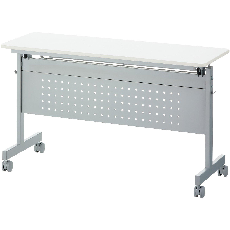 届け先法人限定 オフィスコム 会議用テーブル フォールディングテーブル 幕板付き 幅1200×奥行450×高さ705mm 中棚付き キャスター付き ホワイト B07BFT9X2Dホワイト