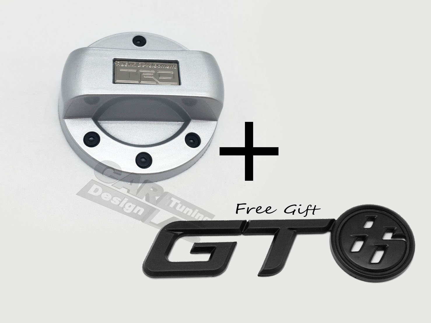 (2) JDM TRD Gas Fuel Cap Lid Cover Overlay + Gift GT86 Emblem For SCION FRS FR-S SUBARU BRZ Toyota GT86 CAR LAB