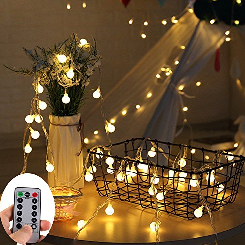 33ft 100Leds Battery Operated String Lights,KOLIER Fairy Lights with Remote Control Waterproof Indoor/Outdoor for Bedroom,Christmas,Garden[8 Modes,Timer](Warm White)