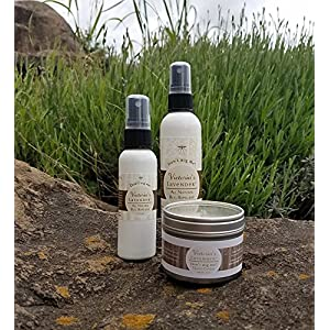 Victoria's Lavender ORGANIC ALL NATURAL BUG REPELLENT SET Includes Candle, 4oz Spray, Travel 2 oz Spray Made in Oregon DEET FREE, 8 ESSENTIAL OILS, ALOE VERA