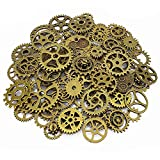 LolliBeads 120 Gram Antiqued Bronze Metal Skeleton Steampunk Watch Gear Cog Wheel Sets( 80pcs)