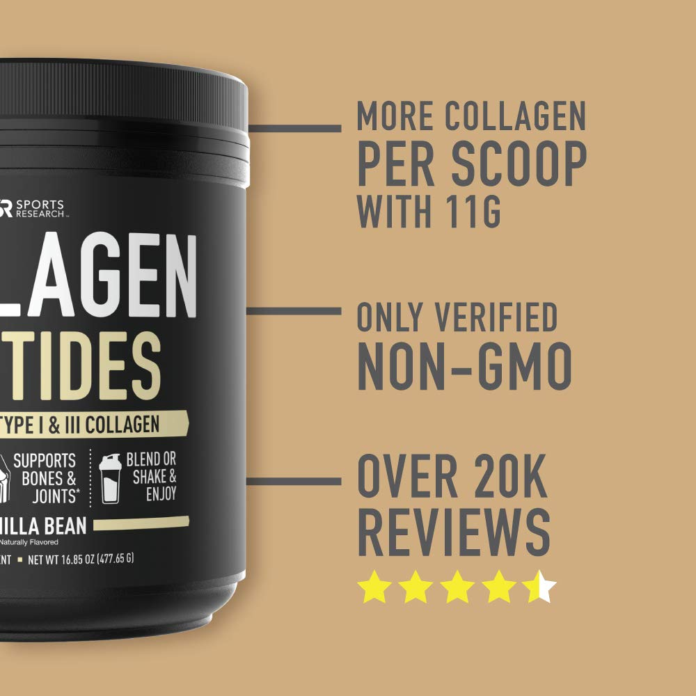 Collagen Peptides Powder 41 Servings  Delicious Vanilla Bean Flavor That goes Great in Coffee Water