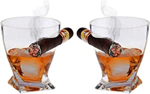 Bezrat Set of 2 Old Fashioned Whiskey Glasses - Tumbler with Side Mounted Holder Rest