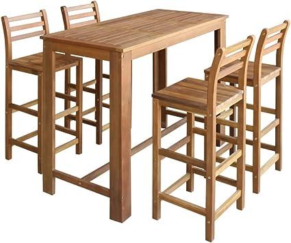Vidaxl Legno Massello Di Acacia Tavolo E Sedie Bar 5 Pz Sgabelli Tavolo Alto Amazon It Casa E Cucina