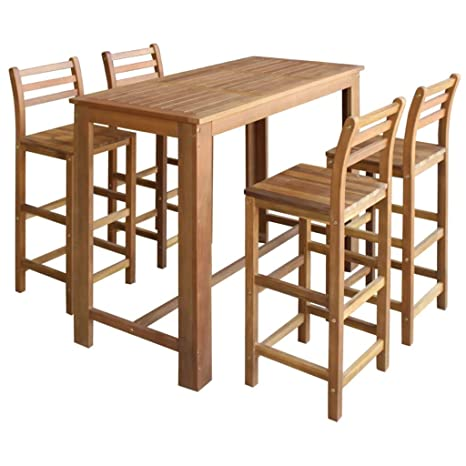 Amazon Com Vidaxl 5 Piece Solid Acacia Wood Bar Table And