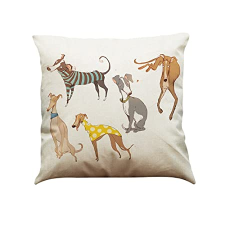 Pillow Cases Rcool Vintage Dog Painting Cotton Cushion Cover Throw Classy Decorate Pillow Cases