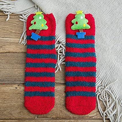 Dormir dormir calcetines calcetines calcetines Navidad chica planta adulta más gruesa de terciopelo antideslizante de silicona