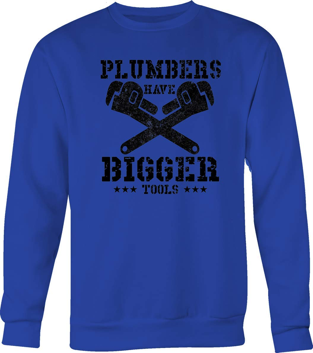 Lifestyle Graphix Plumbers Have Bigger Tools with Wrenches Funny Suggestive Adult Tshirt Small Royal Blue