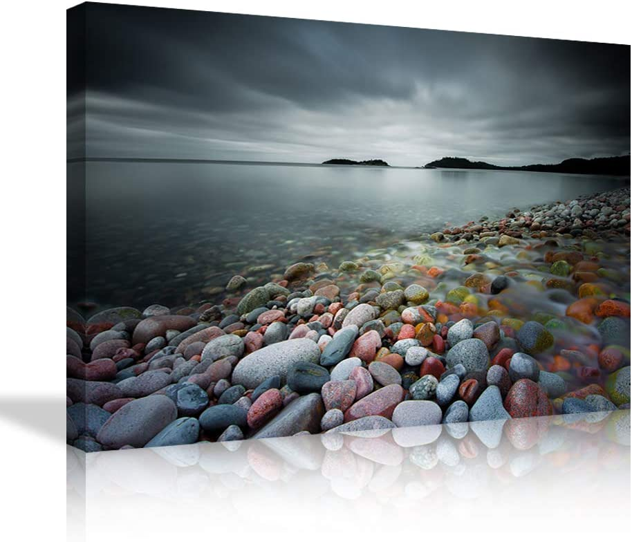 Colorful Stones Wall Art Lake Wave with Cobblestone Wall Decor Dark Art Stones Canvas Painting Landscape Poster Cobblestone Picture Print Artwork Decor for Bedroom Living Room Framed Ready to Hang
