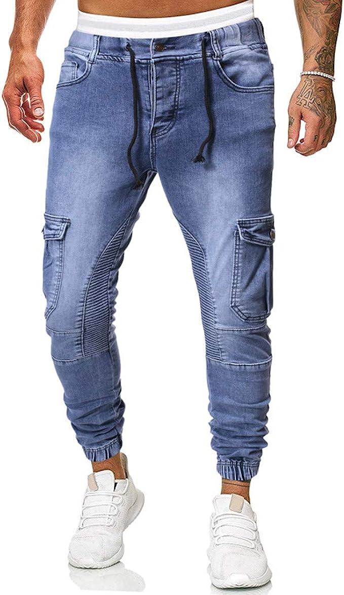 POLO da Uomo Blu Nero Skinny Stretch Slim Fit Elastico Jeans Denim Pantaloni
