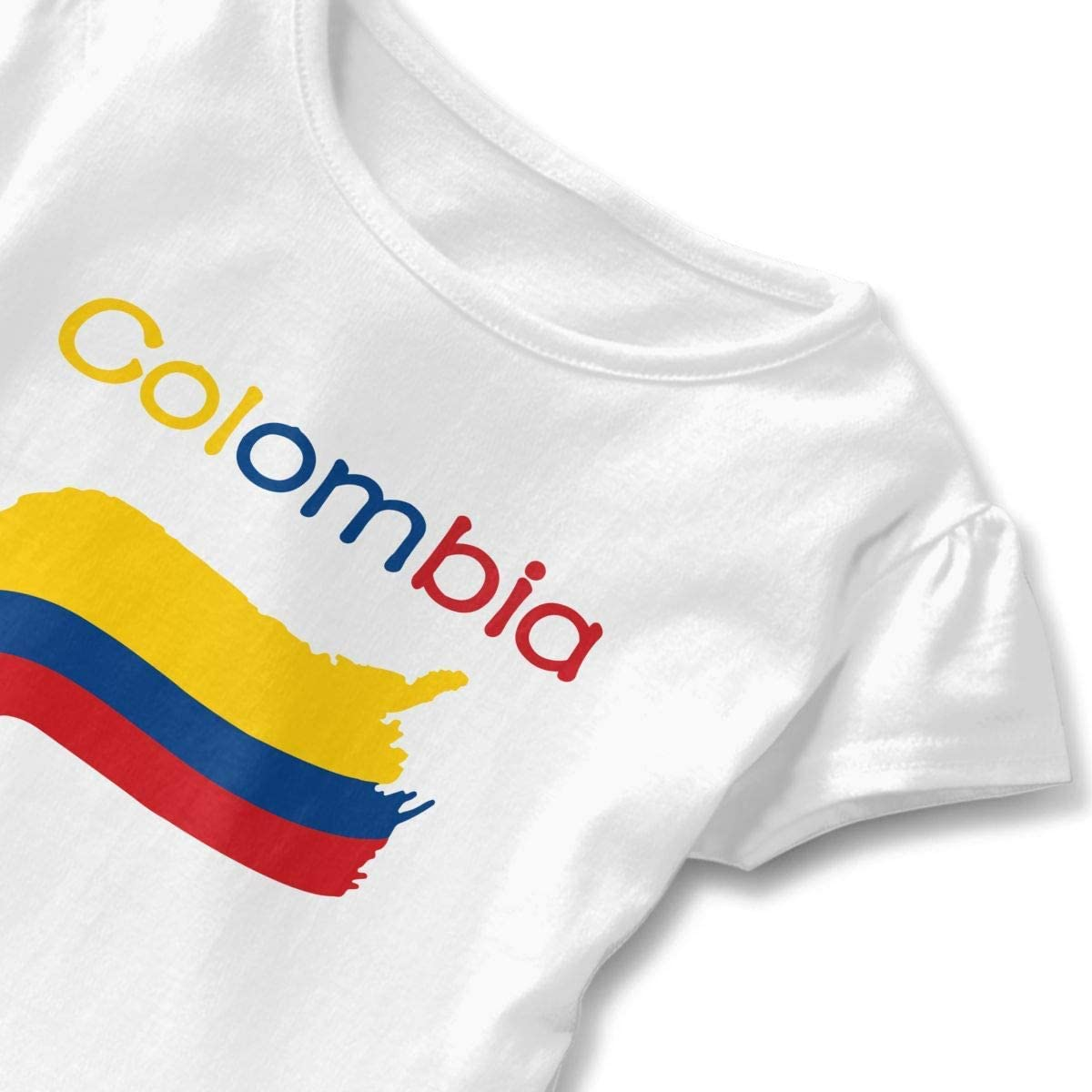 HelloWorlduk Toddler Baby Girl Colombia Flag Funny Short Sleeve Cotton T Shirts Basic Tops Tee Clothes