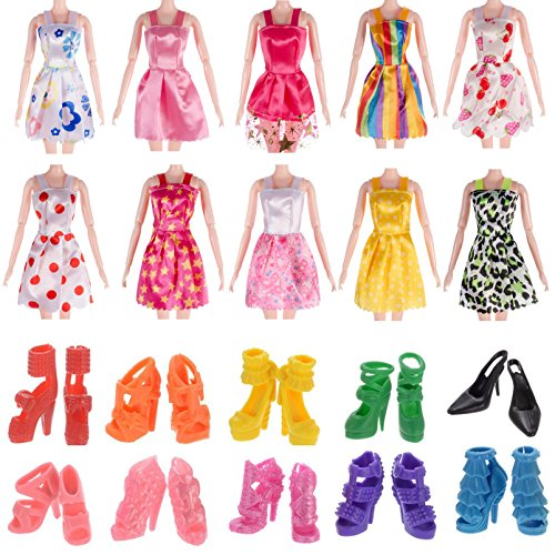 10pcs Barbie Doll Clothes Handmade Mini Short Dress Party Gown Outfits for Girl's Birthday Gift
