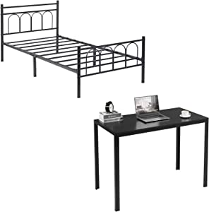 Alecono Metal Bed Frame Twin Size Platform Bed Vintage Style with Headboard No Box Spring Needed Bed Frame, Simple Writing Desk, Black
