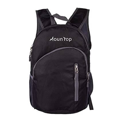 0f8ad61d4e1 mountop Lightweight Foldable Packable Durable Travel Hiking Backpacks  Daypacks 20L (Black)