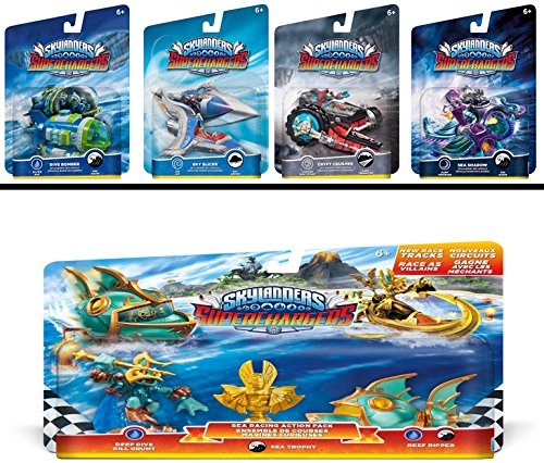 Skylanders SuperChargers 5 Pack Vehicle Starter Bundle! 5 Vehicles, 1 Trophy, 1 Character: Crypt Crusher, Sea Shadow, Sky Slicer, Dive Bomber, and Sea Racing Action Deep Dive Gill Grunt, Reep Ripper