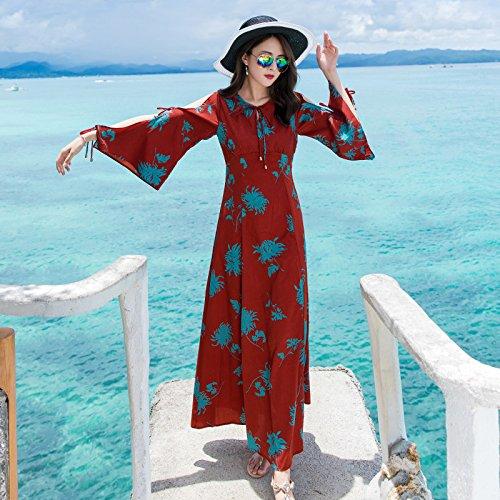 Junto Mar Falda RONG Vestir Verano Hombro gules XIU Vacaciones Al Una Larga Con Mujer De Vestidos Playa De vqC7Axf