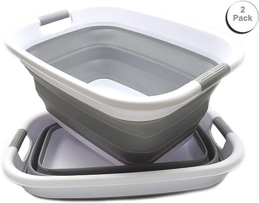 SAMMART Collapsible Plastic Laundry Basket 2, White//Black Space Saving Hamper//Basket Foldable Pop Up Storage Container//Organizer Portable Washing Tub