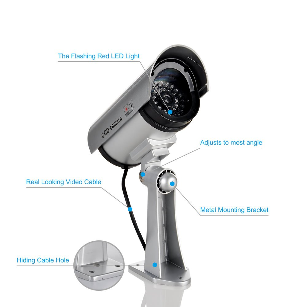 Dummy Security Camera, CCTV Removable Plastics Suit for Indoor/Outdoor Occasion 4 Pack Sliver