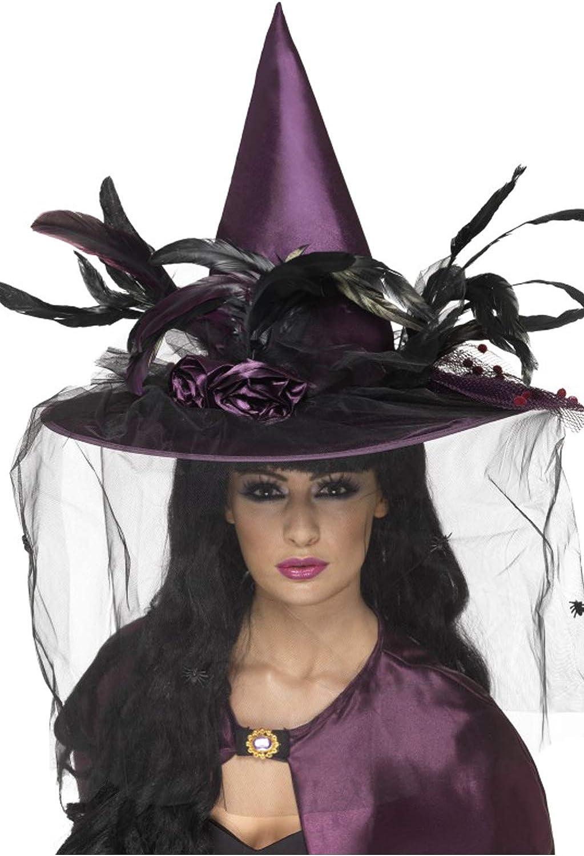 colore viola cappello da strega con piume e rete accessorio per costume da Halloween Smiffys