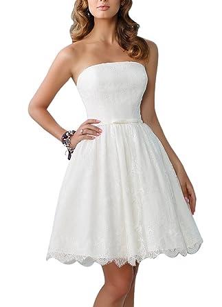 Dream Bride Damen A-Linie Spitze Band-Gurt Kurz Brautkleid ...