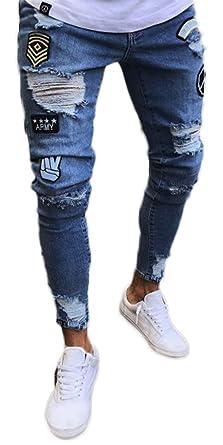 Pizoff Uomo Hip Hop Baggy Harem Skull Stampa Ricamo Denim Jeans  Amazon.it   Abbigliamento d9d08d471406