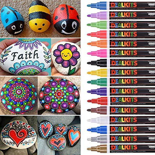 (DealKits 16 Colors Paint Marker Pens for Rock Painting [Oil-Based] [Quick Dry] [Water Resistant] for Art Rock Painting Wood Glass Metal and Ceramic, Medium Tip )