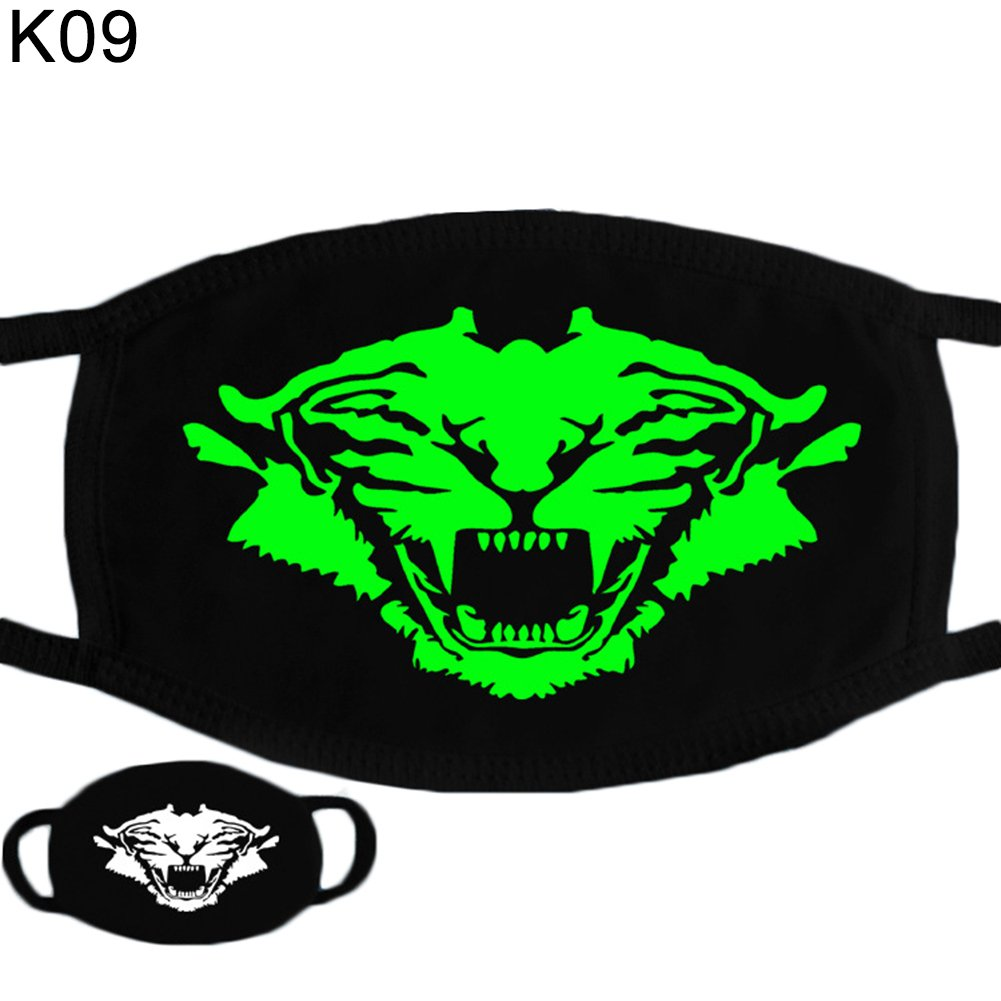 WFZ17 Halloween Skull Pattern Cool Luminous Unisex Cotton Blend Anti Dust Face Mouth Mask for Man Woman K01