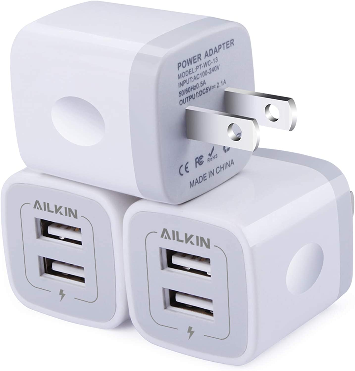 Amazon Com Wall Charger 3pack 5v 2 1amp Ailkin 2 Port Usb Wall Charger Home Travel Plug Power Ac Adapter Fast Charging Block Cube For Iphone 12 Se 11pro Max Xs Xr 8 7 Plus Samsung