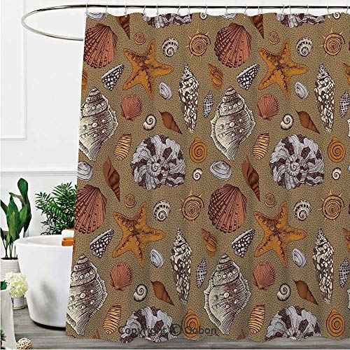 Oobon Shower Curtains, Underwater Starfish Shell Mollusk Seaurchin Sea Horse Pearl Illustration, Fabric Bathroom Decor Set with Hooks, 72 x 78 Inches