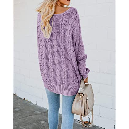 0bd59c5324b ... Womens Pullover Sweaters Plus Size Cable Knit V Neck Lace Up Long  Sleeve Fall Jumper Tops ...