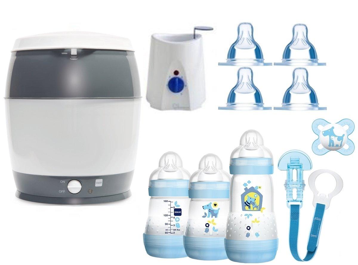 MAM Set 3 - Startset - Flaschen Sauger Sterilisator Flaschen- & Babykoster - Blau + gratis Geschenk MAM Babyartikel MAM-Set 3-blau