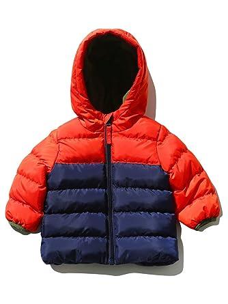 fc85c64ed013 M Co Baby Boy Orange Navy Colour Block Design Hooded Padded Zip Up ...