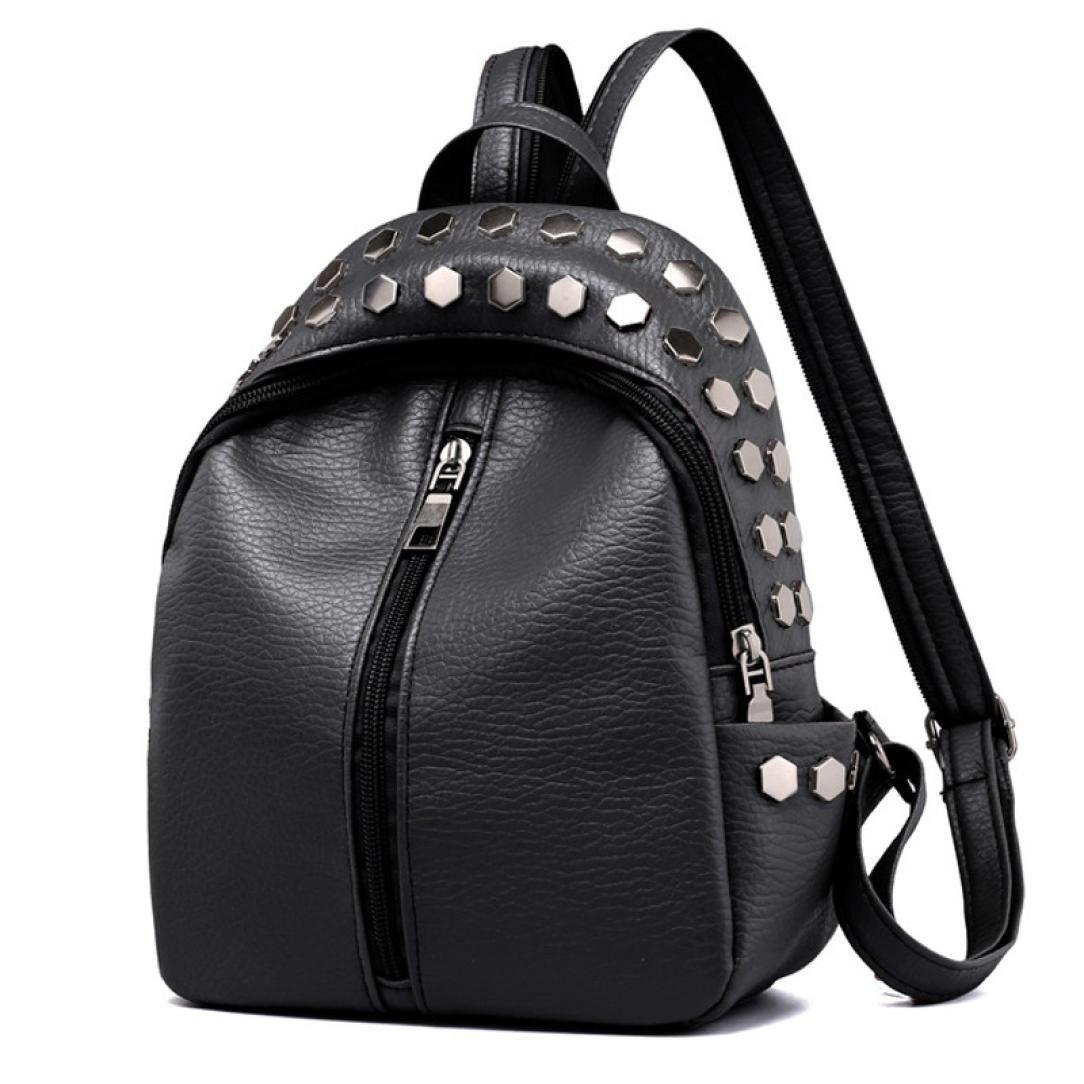 de3a2f2d2 Amazon.com: Hemlock Bags PU Leather Backpacks,Hemlock Teen Students School  Backpacks Crossbody Messenger Bag Travel Rucksack Bag (Black): Clothing