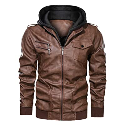 jin&Co Men's Hooded Leather Jacket Autumn Winter Zip Vintage Classic Moto Biker Jacket Track Jacket Outercoat: Clothing