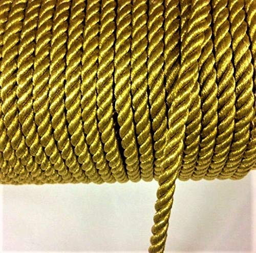 4 mm Metallic Gold twist cord, braided cord Shiny Cord Choker Thread Twine String Rope Piping Supplies Price per 6 yards