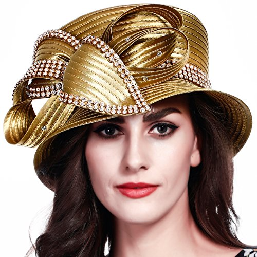 FORBUSITE Church Kentucky Derby Dress Hats for Women SD710 (Gold)