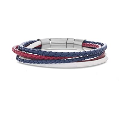 Site officiel réputation fiable images officielles Ben Sherman Men's Red, White, and Blue Multi Strand Braided Leather  Bracelet Set in Stainless Steel, Blue, 8