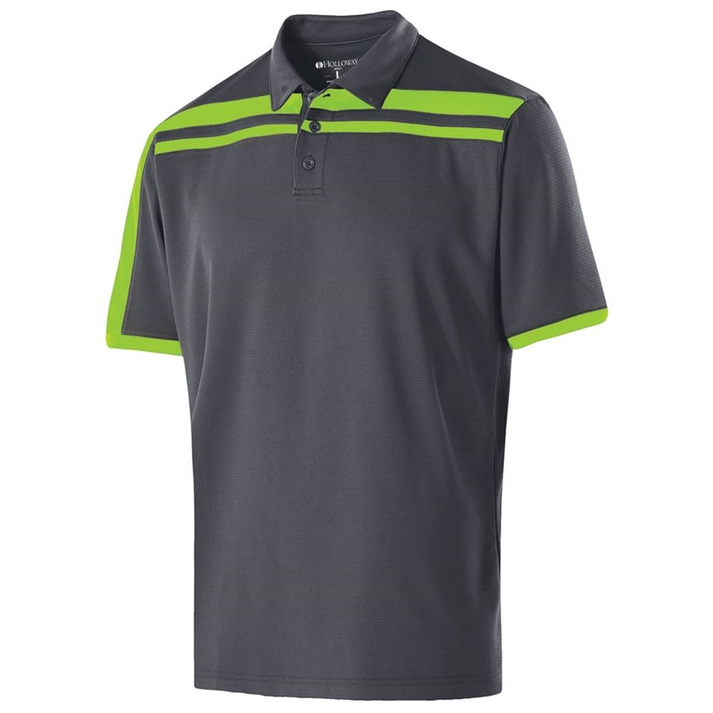 Holloway Dry-Excel Mens Charge Polo (Medium, Carbon/Lime) by Holloway