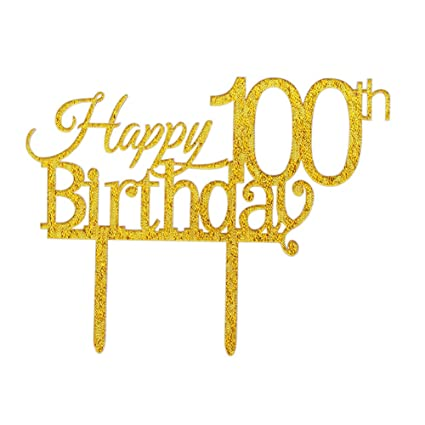 Glitter Gold Acrylic Happy 100th Birthday Cake Topper 100 Party Cupcake Decoration