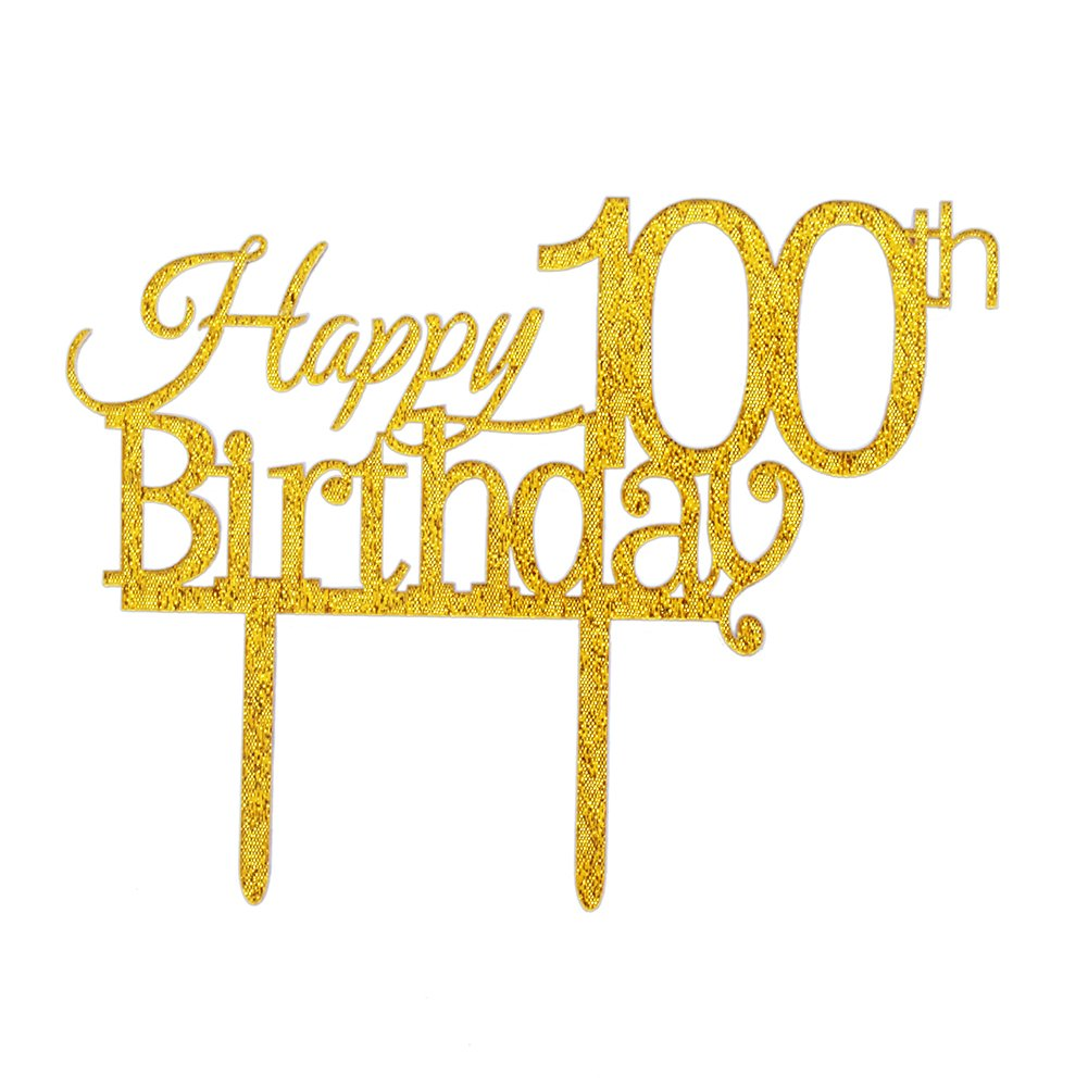 ZMTC Glitter Gold Acrylic Happy 100th Birthday Cake Topper, 100 Birthday Party Cupcake Topper Decoration(100, gold)