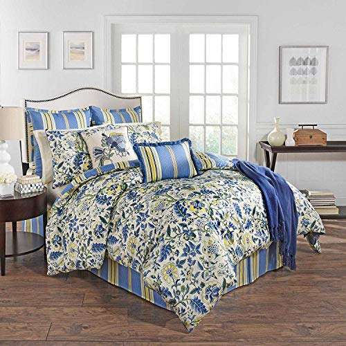 WAVERLY Imperial Dress Reversible Cal King Comforter Set - 9 Pieces- in Porcelain Blue Yellow, Beautiful Floral Design