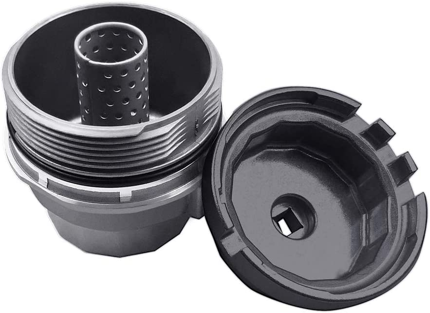 Ibetter Oil Filter Housing Cap and Wrench for Toyota RAV4 Lexus Black Sienna Tundra Oil Filter Housing Assembly and Removal Tool for Engines with 64mm Oil Filter Housings Highlander Camry