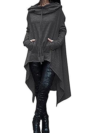 Damen Lange Kapuzenpullover Oversize Pullover Asymmetrisch Hoodie Kleid Casual Pullis
